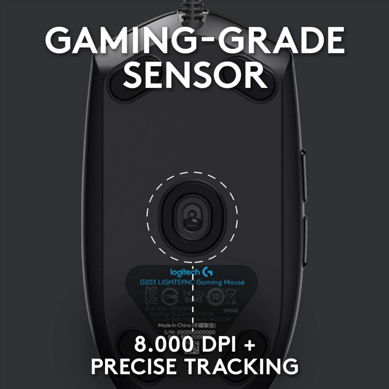Logitech G203 LIGHTSYNC Gaming Mouse With Customizable RGB Lighting - Black