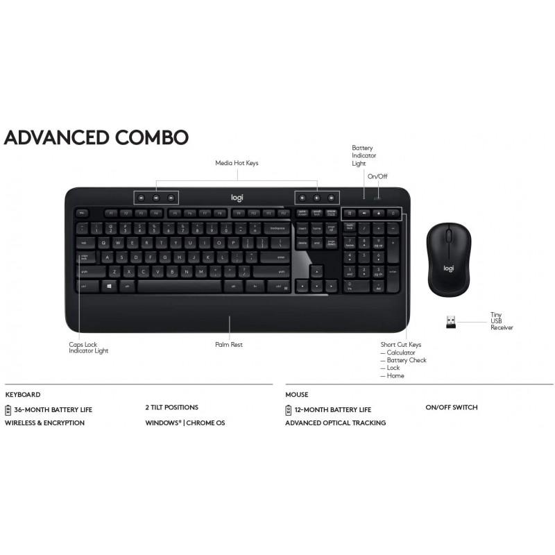 Logitech Advanced Combo Wireless Keyboard and Mouse, QWERTY UK English Layout - Black