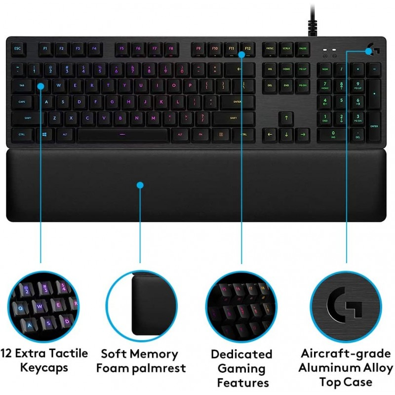Logitech G513 Mechanical Gaming Keyboard UK Layout - Blue Switches
